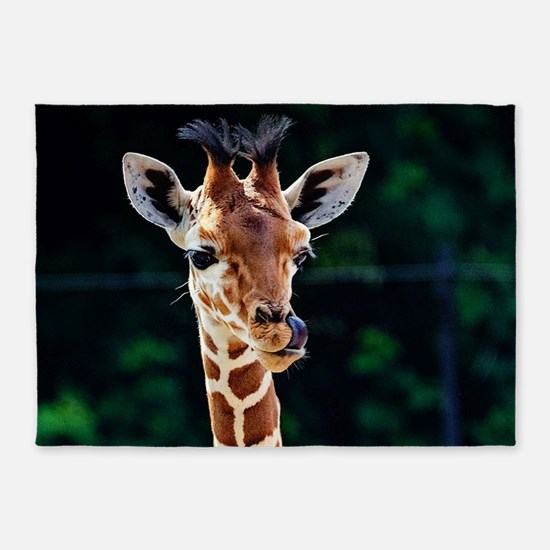 Sweet young Giraffe 5'x7'Area Rug