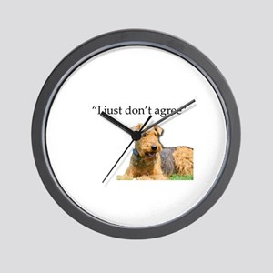 Outdoor Airedale Terrier Disagrees Wall Clock