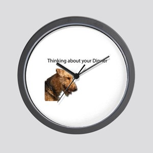 Thinking and Pondering Airedale is thin Wall Clock