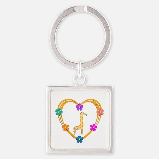 Giraffe Heart Square Keychain