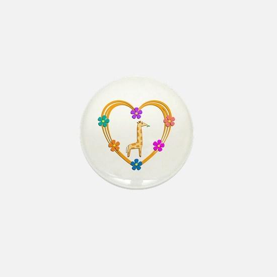 Giraffe Heart Mini Button