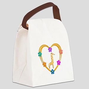 Giraffe Heart Canvas Lunch Bag