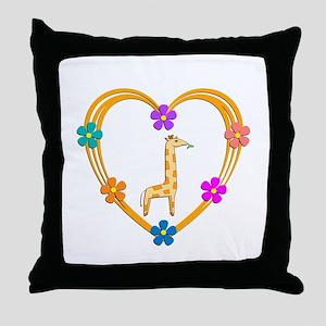 Giraffe Heart Throw Pillow