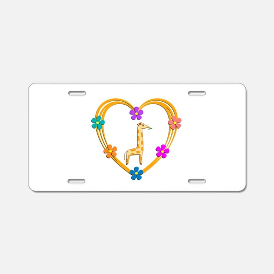 Giraffe Heart Aluminum License Plate