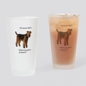 Guilty Airedale Shows No Remorse Drinking Glass