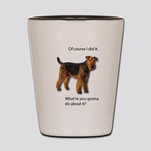 Guilty Airedale Shows No Remorse Shot Glass