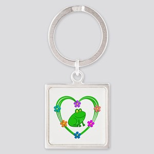 Frog Heart Square Keychain