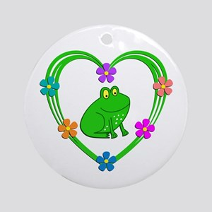 Frog Heart Round Ornament