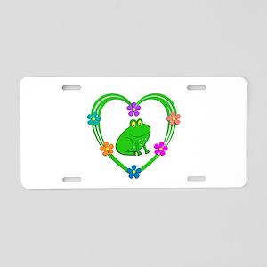Frog Heart Aluminum License Plate
