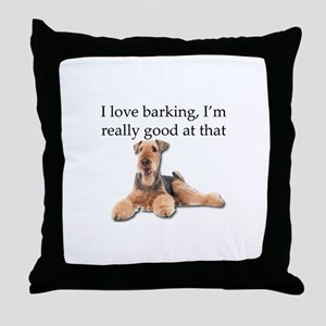 Airedale Terrier is Really good at ba Throw Pillow