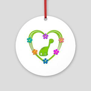 Dinosaur Heart Round Ornament