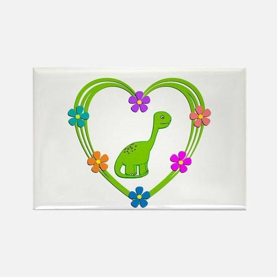 Dinosaur Heart Rectangle Magnet