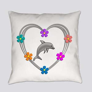 Dolphin Heart Everyday Pillow