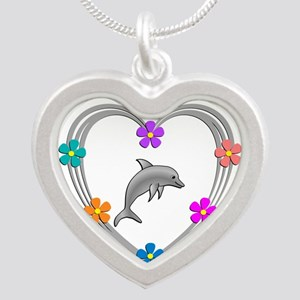 Dolphin Heart Silver Heart Necklace