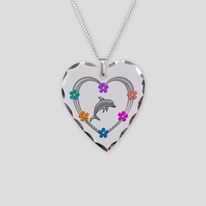 Dolphin Heart Necklace Heart Charm
