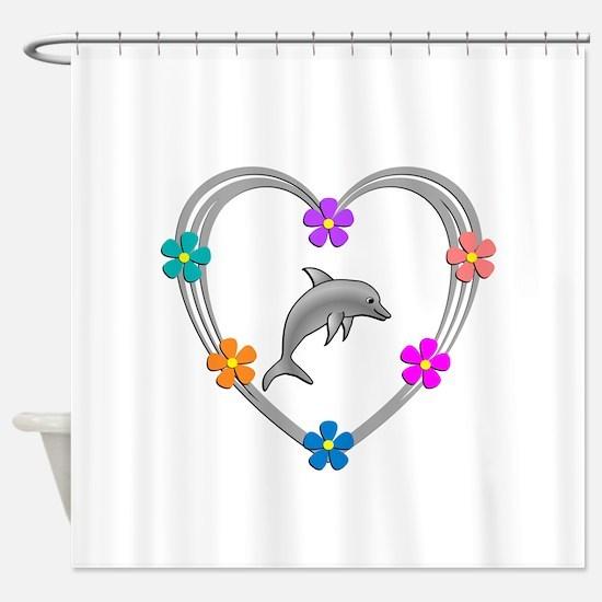Dolphin Heart Shower Curtain