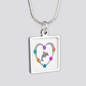 Dolphin Heart Silver Square Necklace