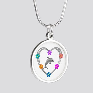 Dolphin Heart Silver Round Necklace