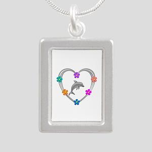 Dolphin Heart Silver Portrait Necklace