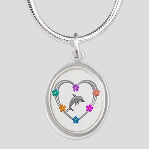 Dolphin Heart Silver Oval Necklace