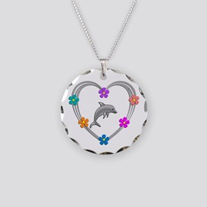 Dolphin Heart Necklace Circle Charm