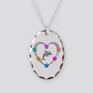Dolphin Heart Necklace Oval Charm