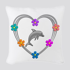 Dolphin Heart Woven Throw Pillow