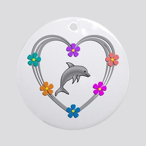 Dolphin Heart Round Ornament