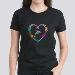 Dolphin Heart Women's Dark T-Shirt