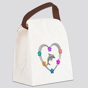 Dolphin Heart Canvas Lunch Bag