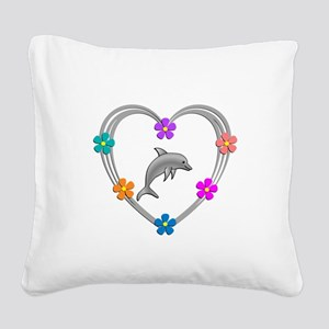 Dolphin Heart Square Canvas Pillow
