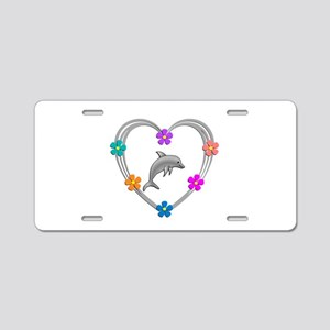 Dolphin Heart Aluminum License Plate