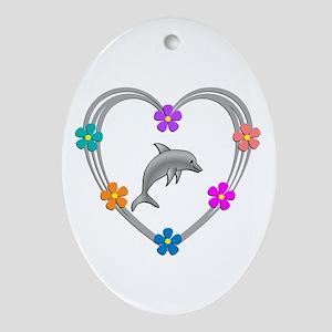 Dolphin Heart Oval Ornament