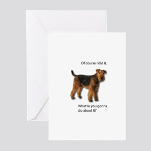 Guilty Airedale Shows No Remorse Greeting Cards