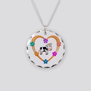 Cow Heart Necklace Circle Charm