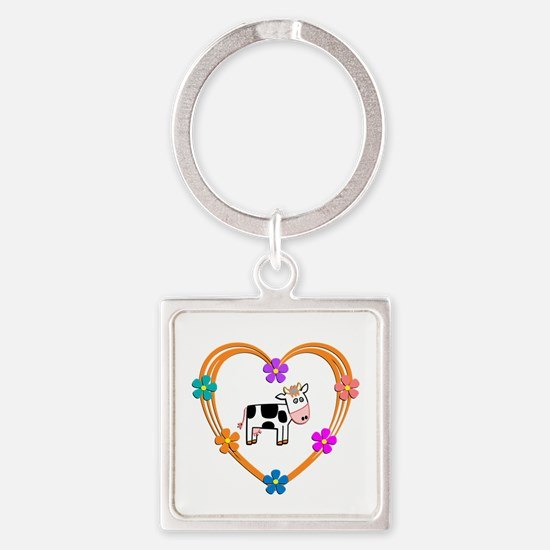 Cow Heart Square Keychain