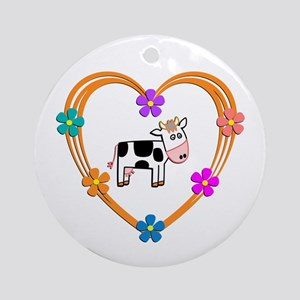 Cow Heart Round Ornament