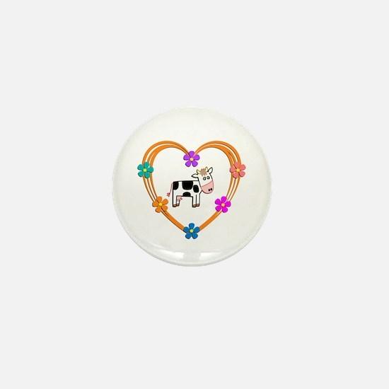 Cow Heart Mini Button