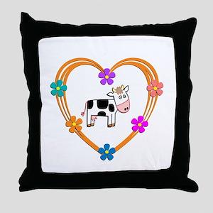 Cow Heart Throw Pillow