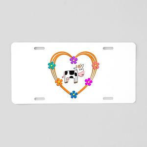 Cow Heart Aluminum License Plate