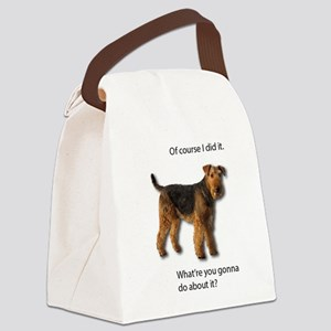 Guilty Airedale Shows No Remorse Canvas Lunch Bag