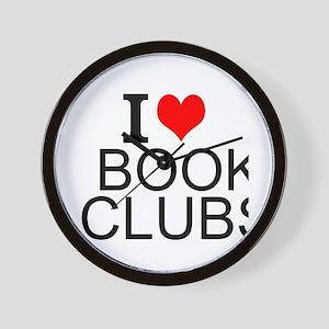 I Love Book Clubs Wall Clock
