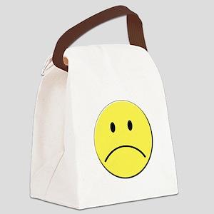 Yellow Sad Face Emoji Canvas Lunch Bag