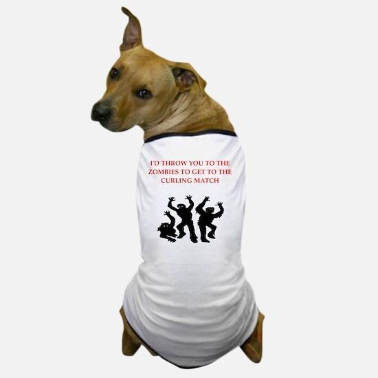 Cute Curling humor Dog T-Shirt