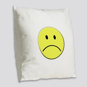 Yellow Sad Face Emoji Burlap Throw Pillow