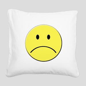 Yellow Sad Face Emoji Square Canvas Pillow