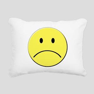 Yellow Sad Face Emoji Rectangular Canvas Pillow