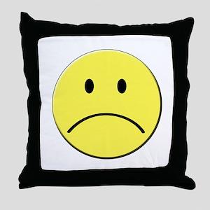 Yellow Sad Face Emoji Throw Pillow