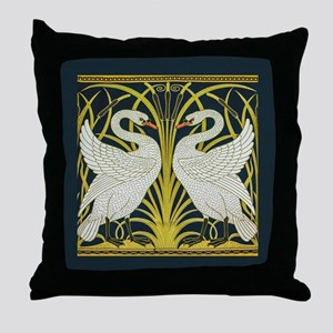 Swan, Rush and Iris by Walter Crane Throw Pillow