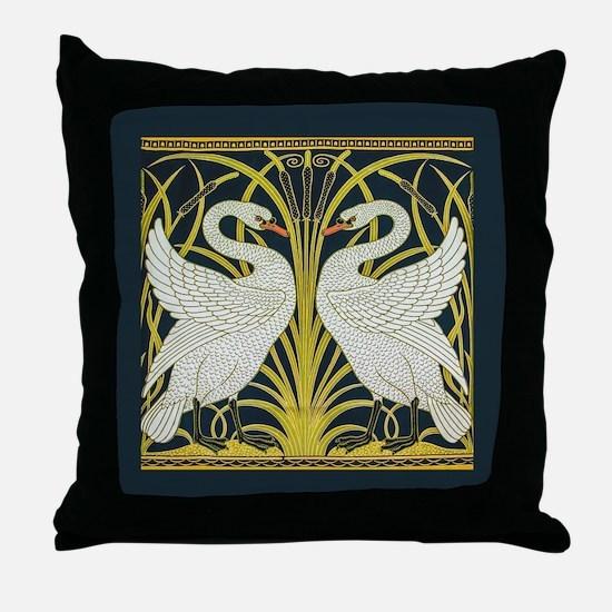 Swan, Rush and Iris by Walter Crane Throw Pillow